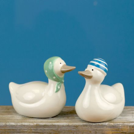 Ceramic Swimming Duck ~ Set of 2 Duck Ornaments Blue Hat & Green Scarf